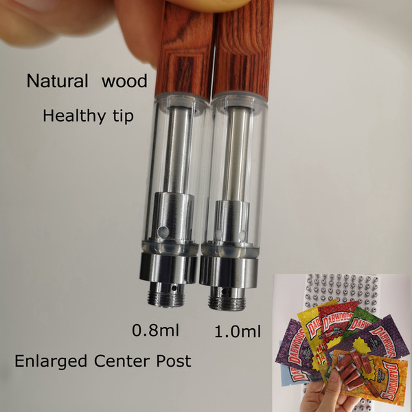Wood Tips Vape Cartridges Ceramic Coil Dabwoods Packaging 0.8ml 1.0ml Vaporizer Pens Empty Retail Bags Health Woods Carts