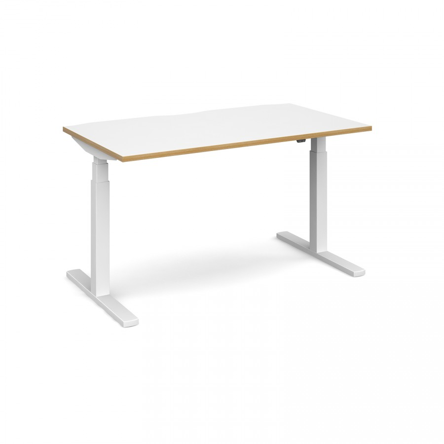 Elev8 Sit Stand Office Desk 1600mm Twin Motor White with Oak edge