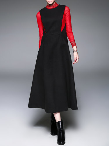 Black Crew Neck Pockets Simple Sleeveless Midi Dress