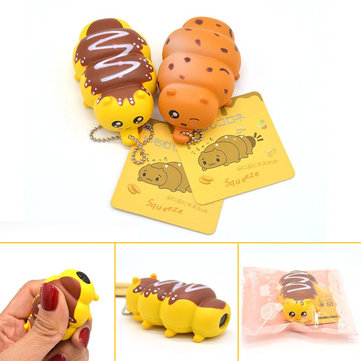 Kawaii Squeeze Caterpillar Toy Phone Bag Strap Fun Gift Stress Reliever