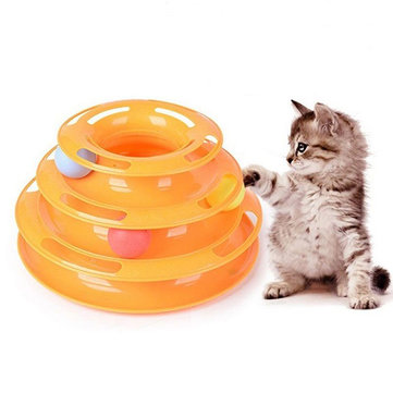 Funny Cat Toy Tower With Balls Turntable Ball Kitty Plastic Kitten Play Interactive