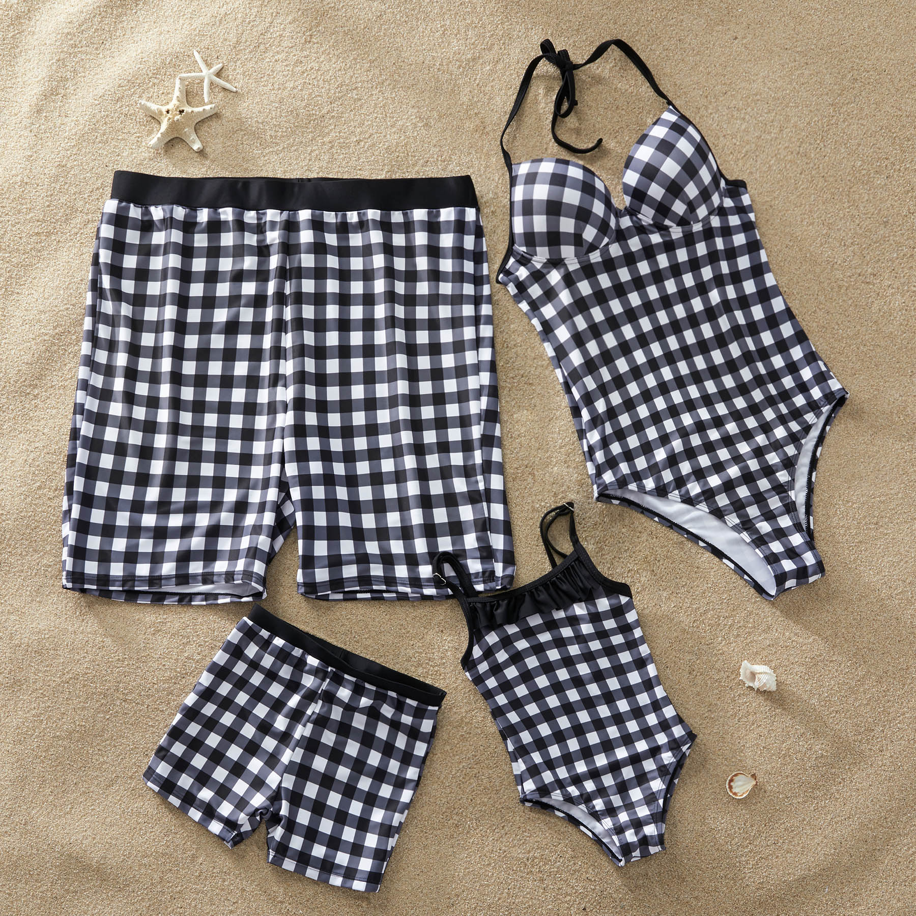 Plaid One-Piece Family Matching Swimwear