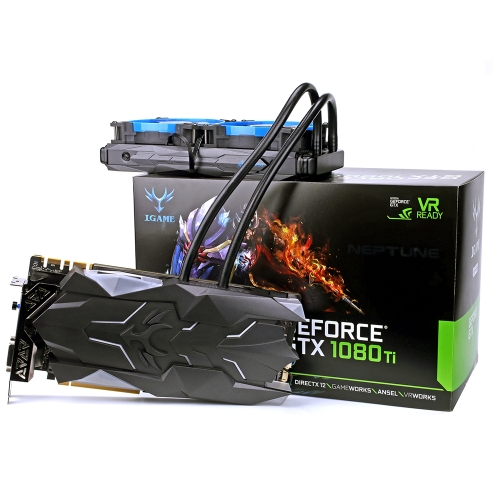 Colorful iGame GTX1080Ti Neptune W Video Graphics Card Liquid-Cooled GPU 1594-1708MHz 11GB GDDR5X 352bit with Water Cooling SLI VR Ready
