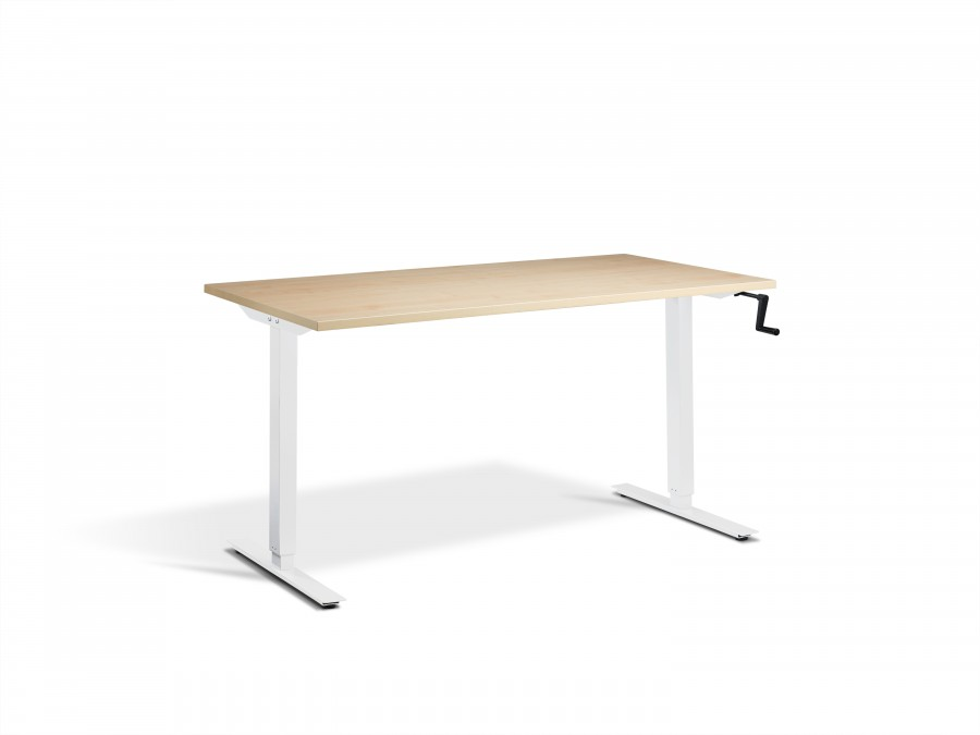 Lavoro Solo Maple Hand Crank Height Adjustable Desk - White Frame - 1200x700mm