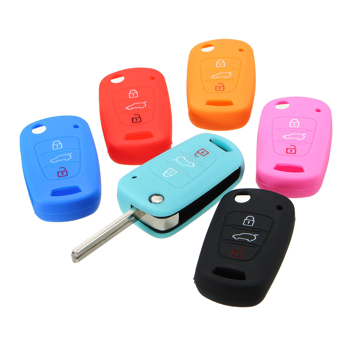 Silicone 3 Button Remote Key Case Cover For Hyundai Elantra Accent i20 i30 ix35
