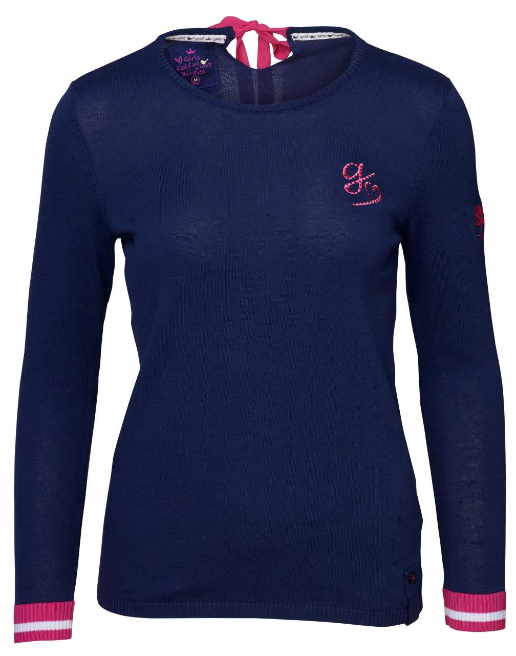 Girls Golf bow in my neck Pullover Damen navy
