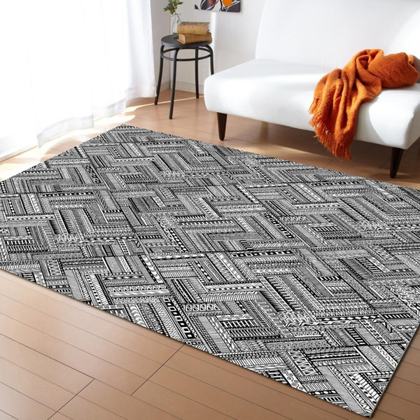 grey ethnic geometic modern carpets for living room rugs large anti-slip safety carpet