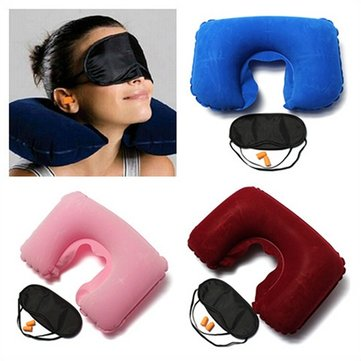 U-Shaped Inflatable Travel/Office Pillow Rest Cushion With Eye Mask And Earplug
