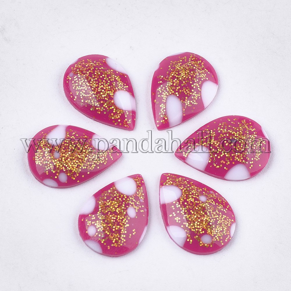 Epoxy Resin Cabochons, with Glitter Powder, Teardrop, MediumVioletRed, 13.5~14x10x3mm