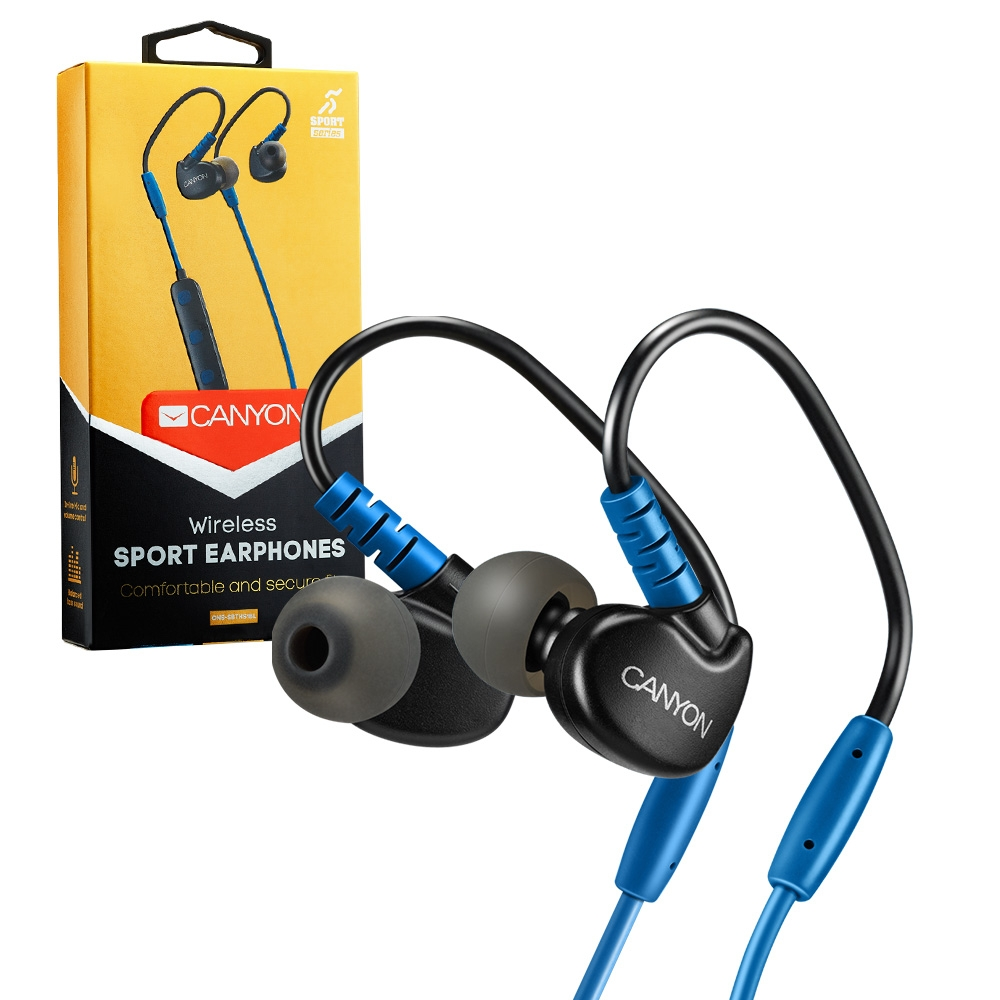 Canyon Bluetooth 4.1 Wireless Sport Stereo Earbuds Headphones Headset with Mic - Blue