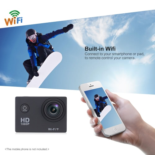 W9B 1080p 30 FPS Max 12MP Wifi Etanche 30M antichoc 170 ° Grand Angle 2.0
