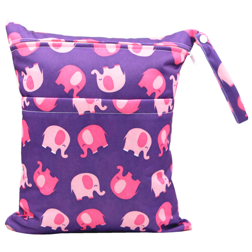 Double Pockets Elephant Print Waterproof Hanging Cloth Diaper Wet/Dry Bags