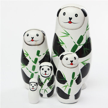 5 Pcs Russian Wood Nesting Doll Matryoshka Stacking Dolls Tricky Toys Creative Gift