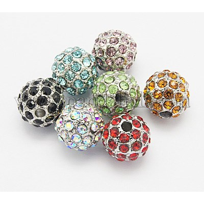 Metal Alloy Rhinestone Beads, Round, Mixed Color, Size: about 10mm in diameter, hole: 2mm.