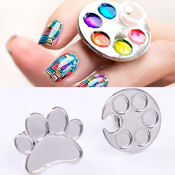 1pc nail art metal finger ring palette for uv gel polish painting drawing color holder storage plate case manicure nail art tool