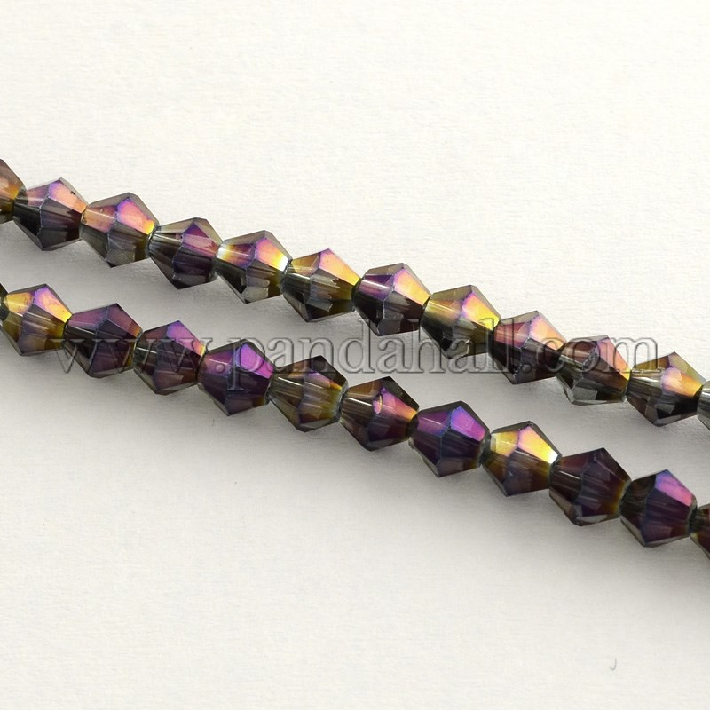 Electroplate Glass Bead Strands, Rainbow Plated, Faceted Bicone, Purple, 4x4.5mm, Hole: 1mm; about 104pcs/strand, 18