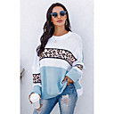 Women's Knitted Leopard Pullover Long Sleeve Sweater Cardigans Crew Neck Fall Blue Orange Gray