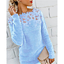 Women's Blouse Shirt Solid Colored Long Sleeve Lace Patchwork Round Neck Tops Fleece Basic Top Black Purple Wine