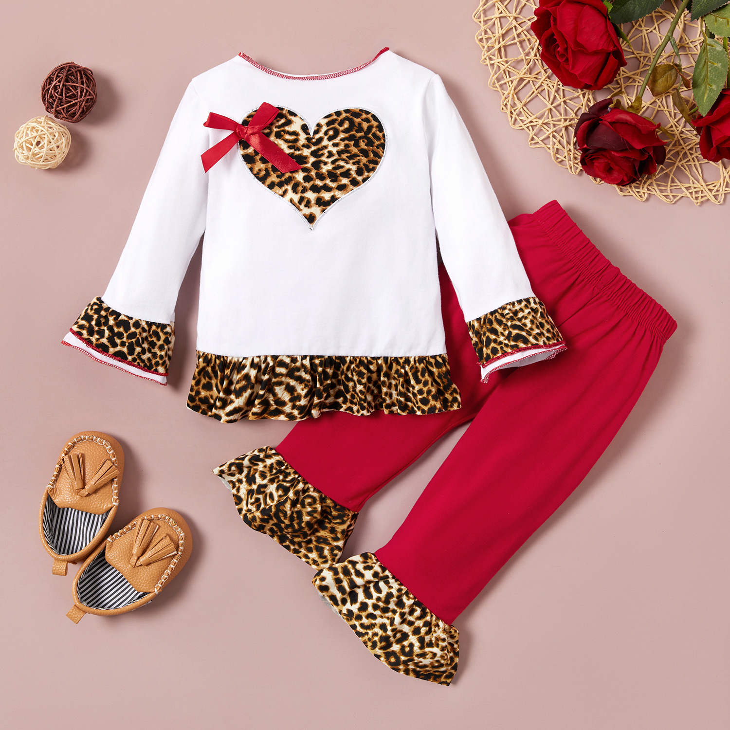 Leopard Print Bell sleeves Top and Bellbottom Pants Set