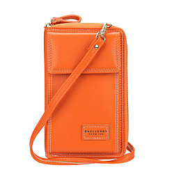 Women's Bags PU Leather Polyester Wallet Mobile Phone Bag Crossbody Bag Solid Color 2020 Daily Office  Career Black Purple Blushing Pink Orange