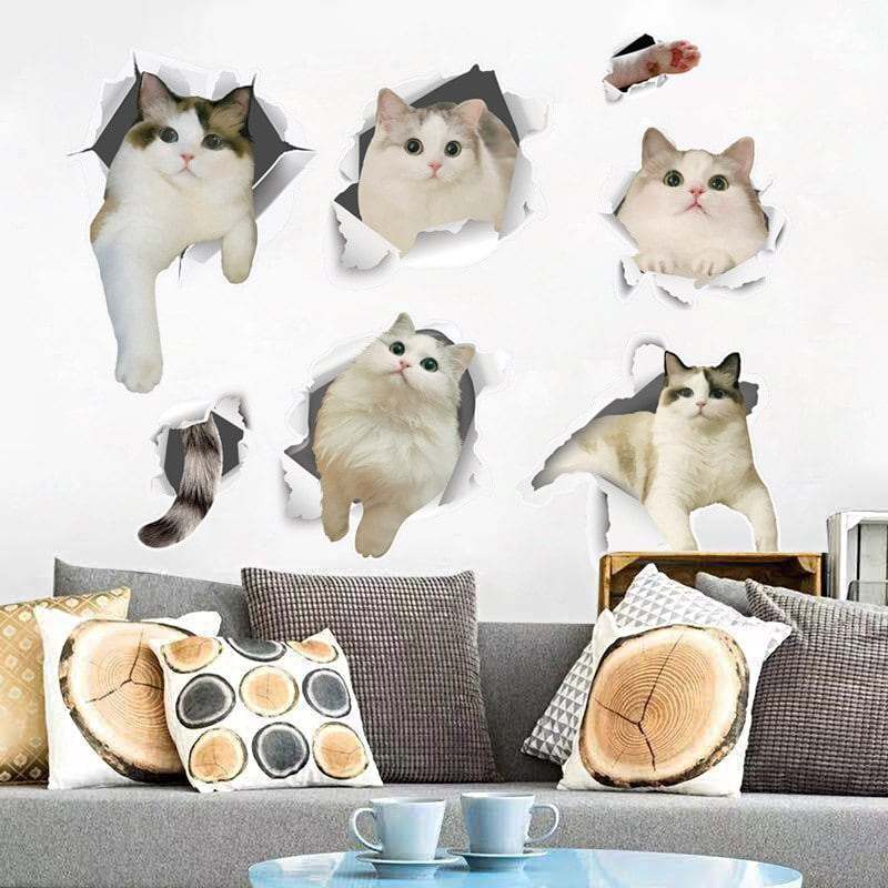 Cute Cats Removable PVC Wall Sticker
