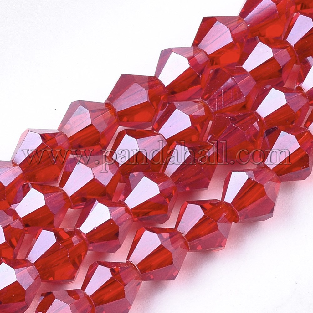 Electroplate Glass Beads Strands, Pearl Luster Plated, Faceted, Bicone, Red, 6x5.5~6mm, Hole: 1mm; about 50pcs/strand, 11.02