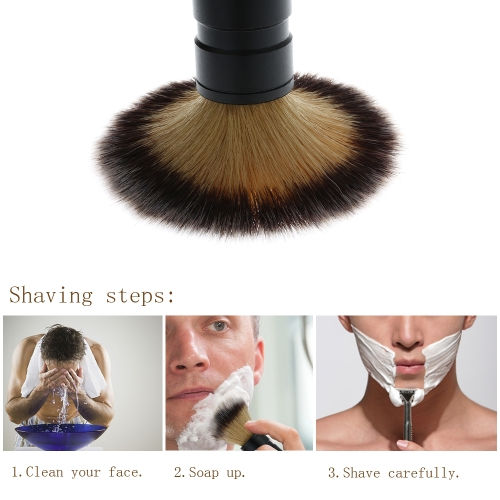 1pc Men's Nylon Shaving Brush Metal Aluminium Oxide Handle Razor Sets Male Beard & Face Cleaning Tool Black