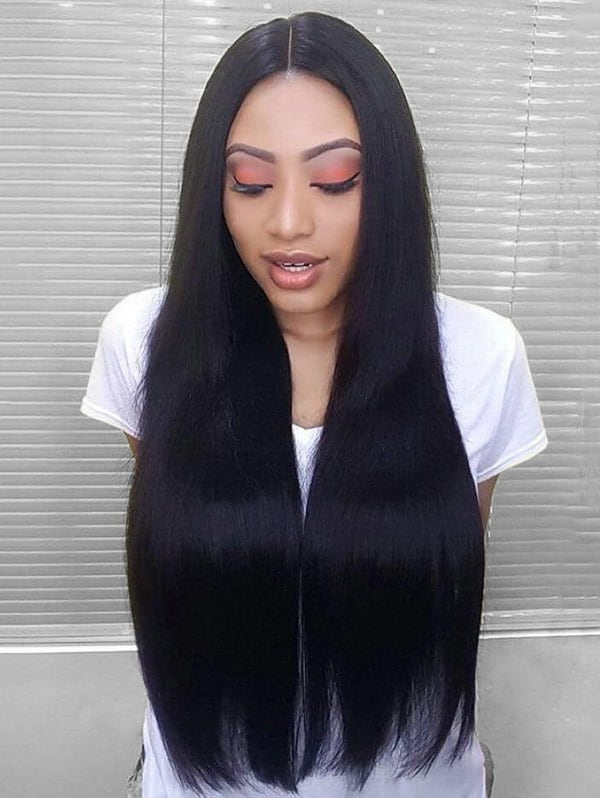 Solid Straight Long Center Part Synthetic Wig
