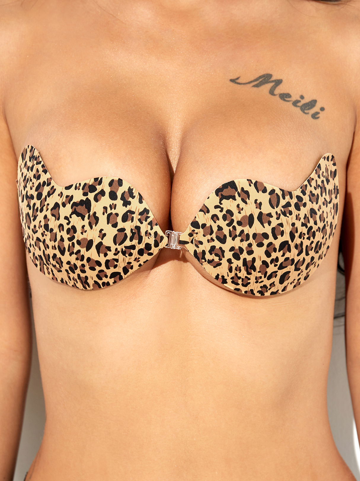 Leopard Print Strapless Push Up Clasp Front Invisible Stick On Bra in Yellow