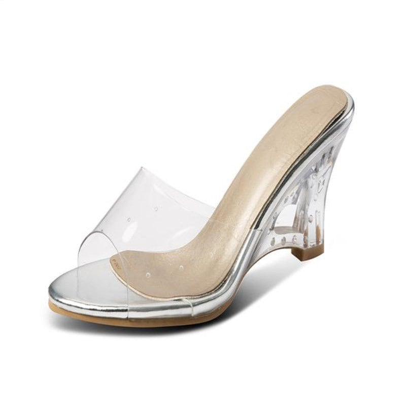 Transparent Hollowed Out Crystal and Wedge Sandals