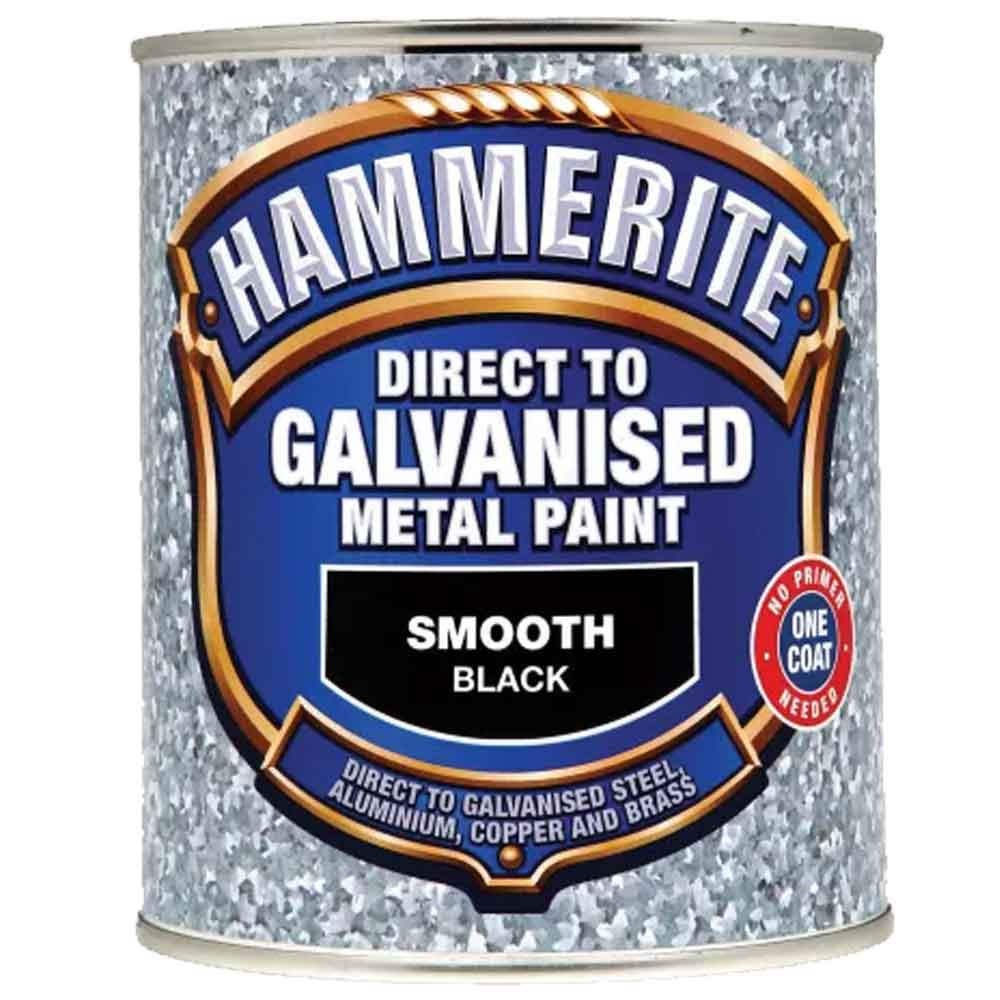 Hammerite 'Direct To Galvanised' Metal Paint - Smooth Black 750ml