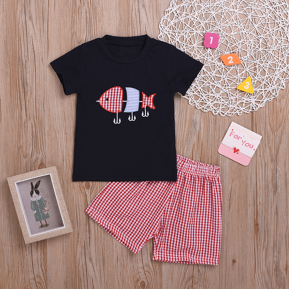 Baby / Toddler Fish Embroidery Tee and Plaid Short Set