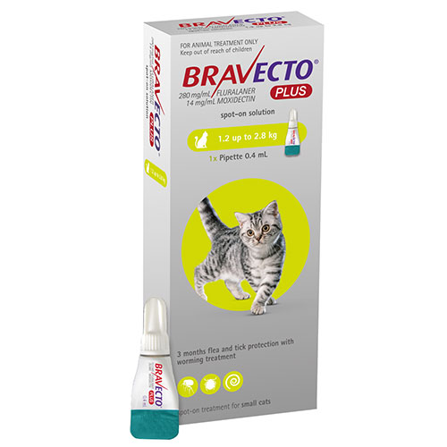 Bravecto Plus For Small Cats 112 Mg (2.6 To 6.2 Lbs) Green 1 Doses