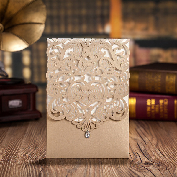 100pcs/lot wishma gold elegant laser cut wedding invitations cards with rhinestone invite cards for party customizable cw5010