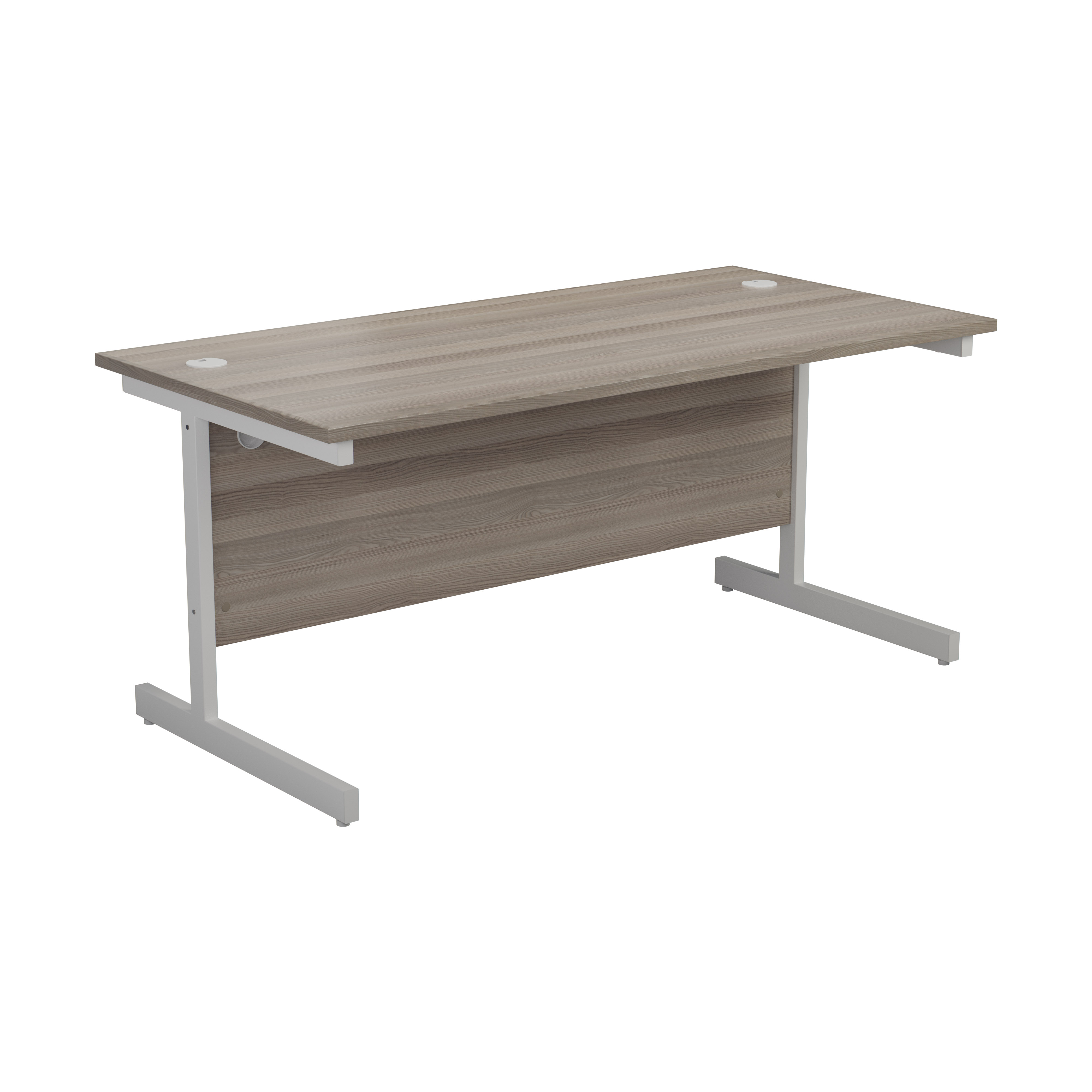 One Cantilever 1200 Rectangular Cantilever Workstation - Grey Oak Top White Legs