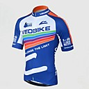 VEOBIKE Men 's Summer Breathable Polyester Short Sleeve Cycling Jersey - Blue