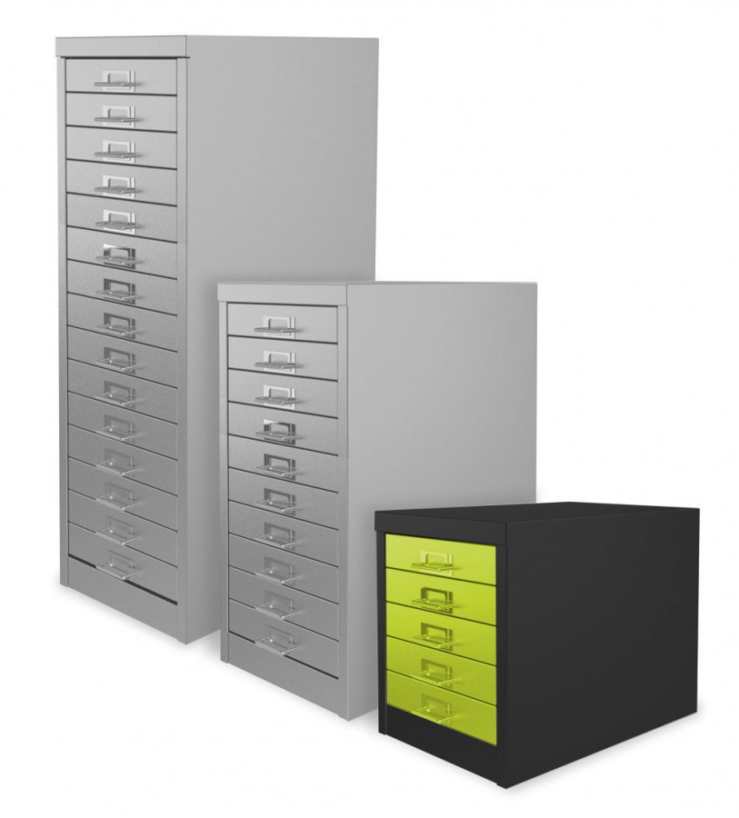 Black and Chlorophyll 5 Drawer Multi Drawer Cabinet
