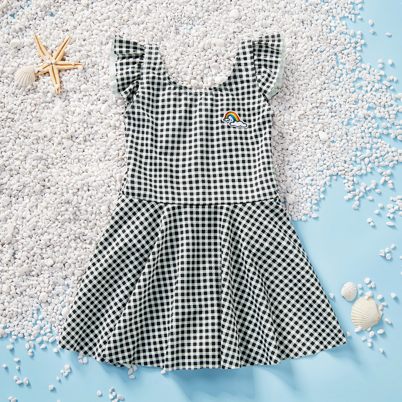 Toddler Girl Pink Plaid Flutter-sleeve Swimdress