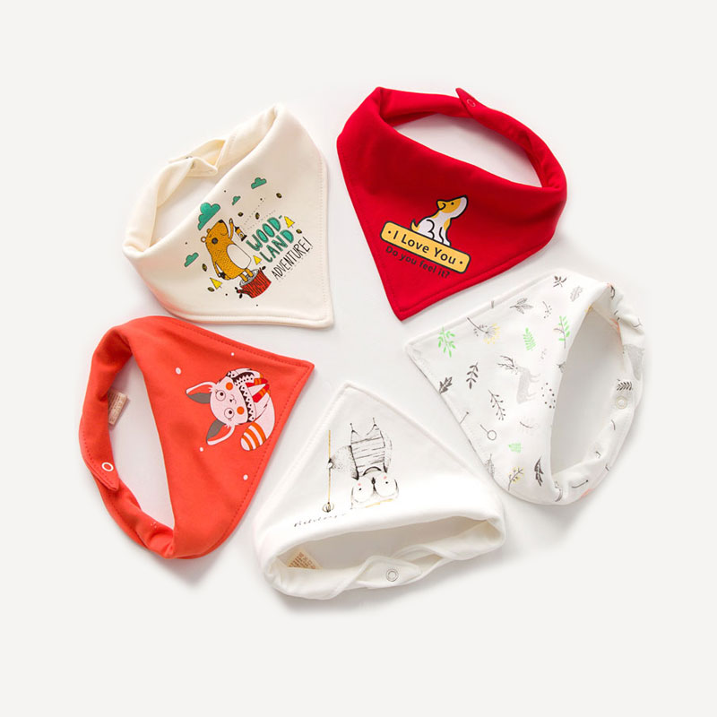 5-pack Cute Animal Print Cotton Baby Bibs