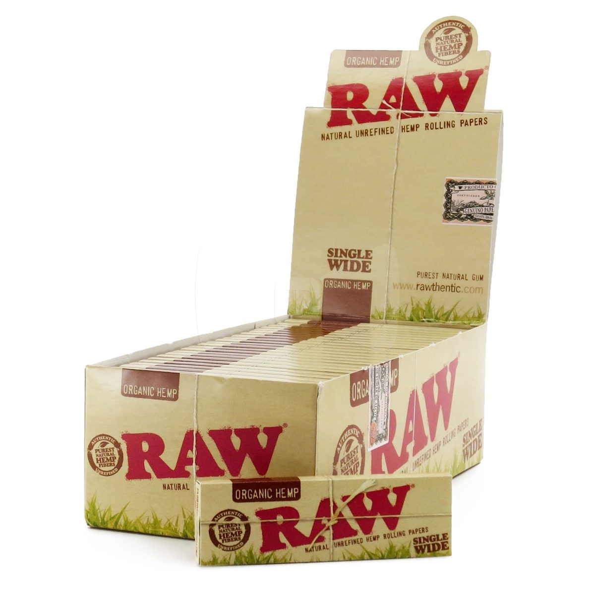 RAW Organic Single Wide/Single Window Rolling Papers 1 Pack
