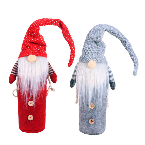 Christmas Wine Bottle Cover New Year Gift Packing Home Table Decoration Xmas Dress for Water Bottle Santa Claus Woven Bag Covers