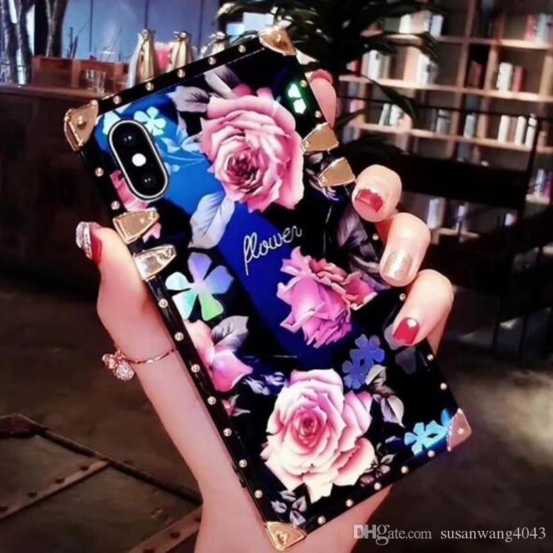 Luxury Blue Light Cover Fashion Glitter 3D Flower Phone Cases For iPhone X XR XS Max 8 7 6 6s Plus S9 Mate20 soft Shell Skin Hull GSZ507
