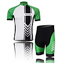 XINTOWN Men's Arrow Quick Dry Moisture Absorption Short Sleeve Cycling Suit—GreenWhite