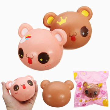 Squishy Bear Face Head Crown Rainbow Toys