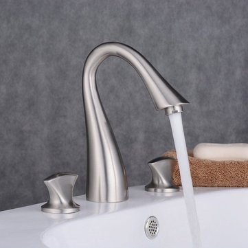 Bathroom Widespread Sink Faucet 3 Hole Mixer Water Tap Single Handle Kitchen Faucet