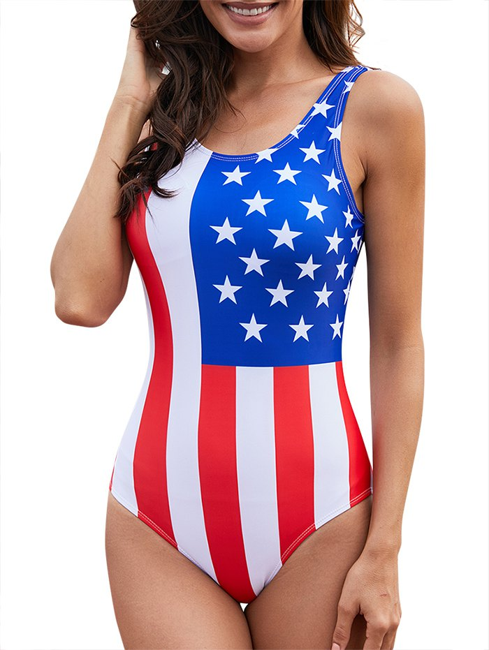Backless American Flag One-Piece Swimsuit