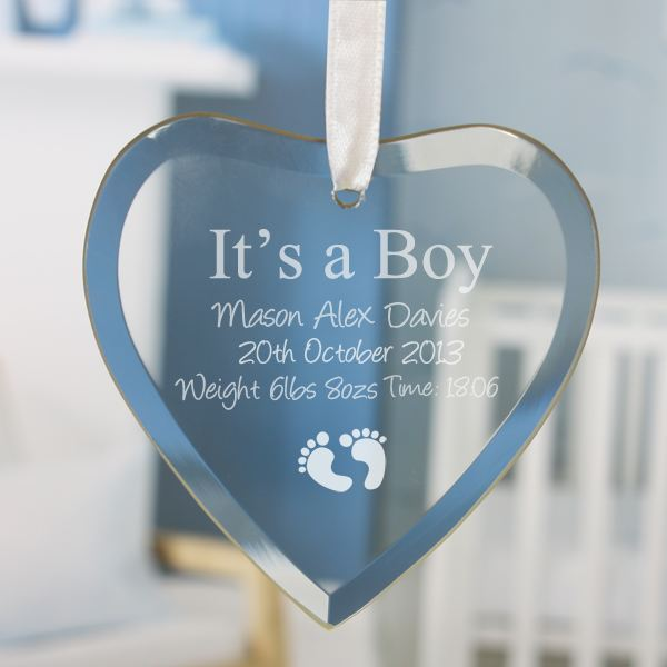 It's a Boy Personalised Glass Heart