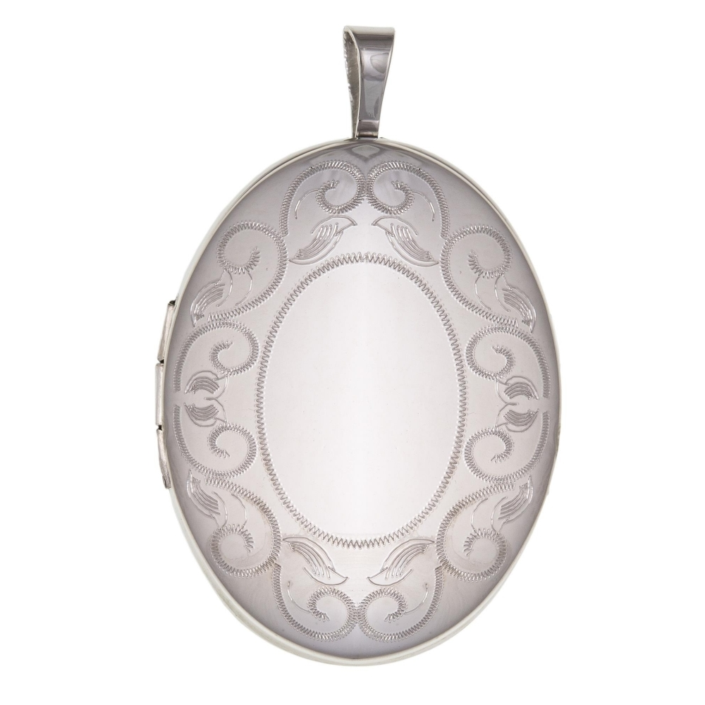 HS Johnson HSJ-BU0046 Patterned Oval Silver Locket