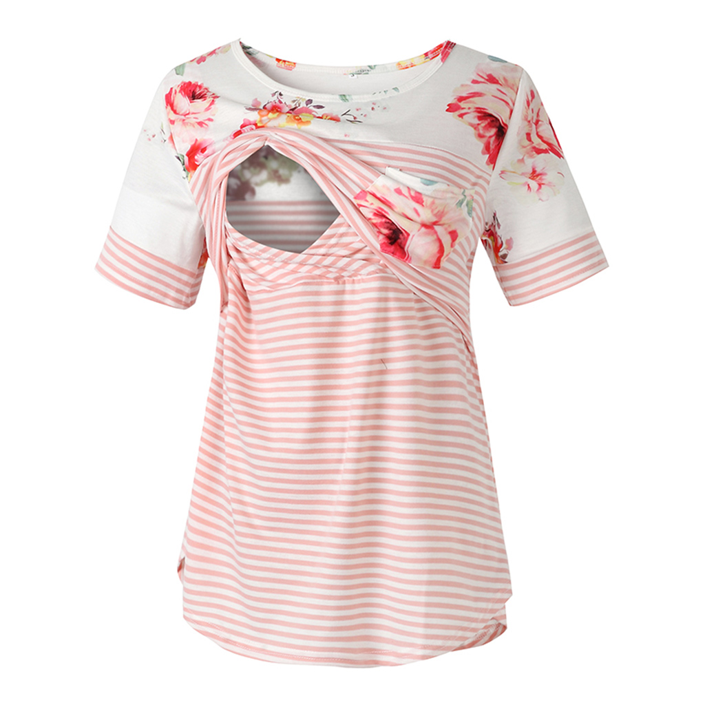 Trendy Floral and Striped Nursing Tee