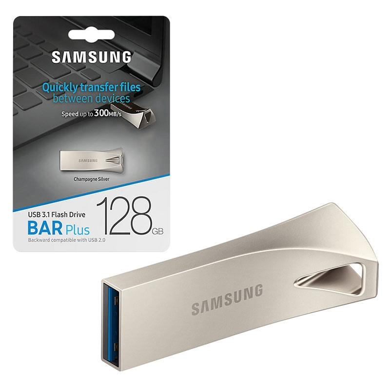 Samsung 128GB Bar Plus USB 3.1 Flash Drive 300MB/s - Silver - MUF-128BE3/EU